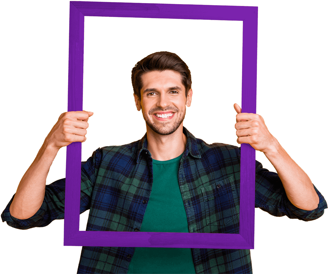 Man with career ahead looking out of a frame